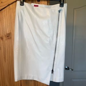 Butter soft ivory faux leather skirt NWT